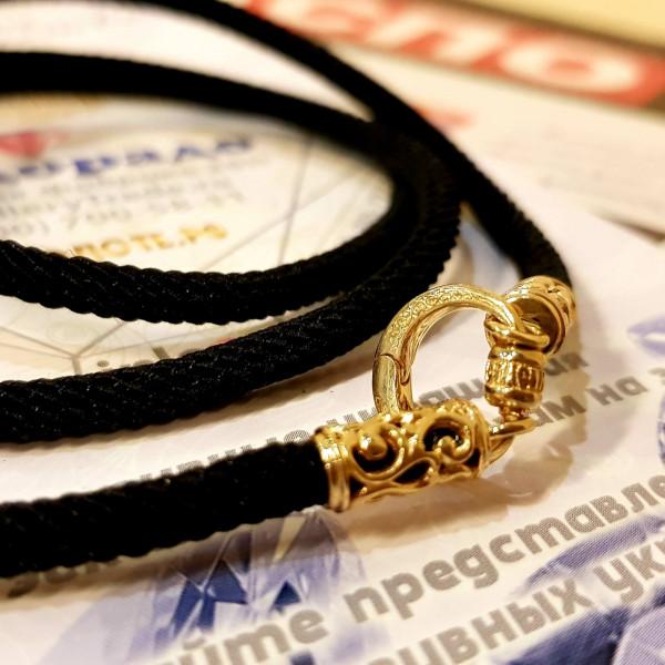 Кожаный шнурок с золотыми ажурными концевиками и переходником