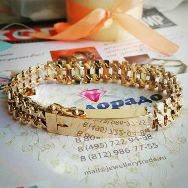 Эксклюзивный массивный мужской браслет из комбинированного золота с замком-коробочкой