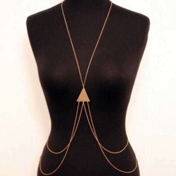 Многоуровневая цепочка из серебра на тело с треугольником