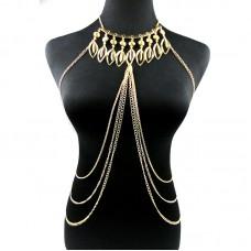 Цепочка из серебра на тело с ожерельем..