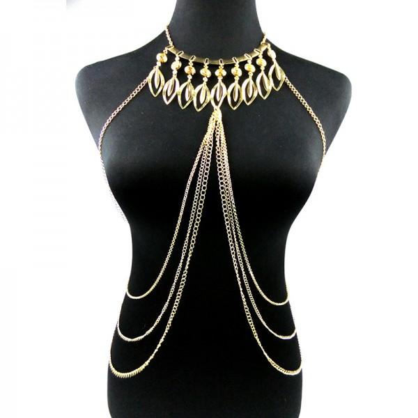 Цепочка из серебра на тело с ожерельем