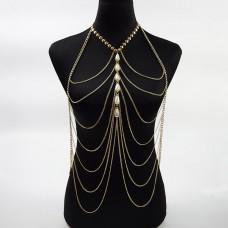 Многоуровневая цепочка на тело из золота с жемчугом..