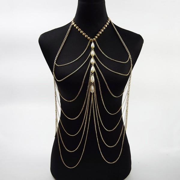 Многоуровневая цепочка на тело из золота с жемчугом