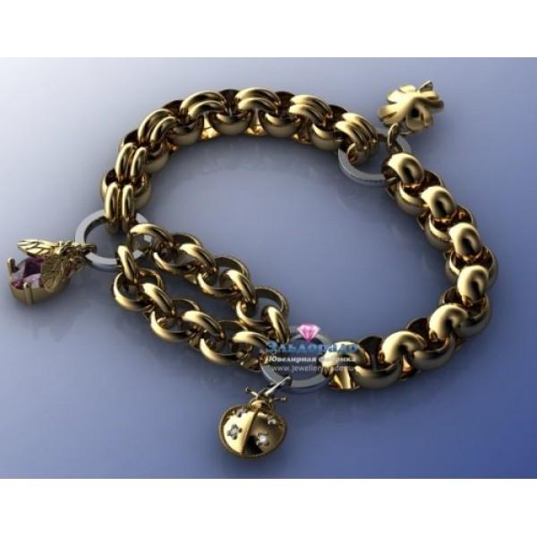 Браслет из комбинированного золота с кулонами