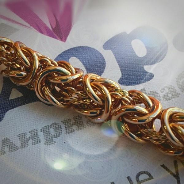 Браслет из розового золота царского плетения с замком-бабочкой