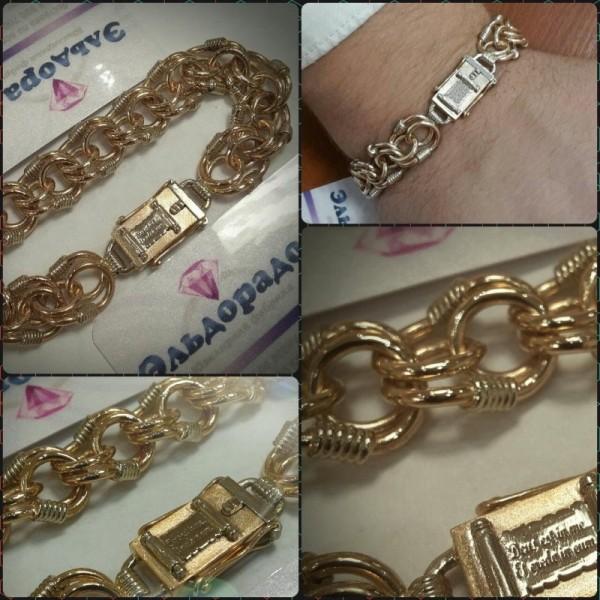 """Браслет """"Королевская Мантия"""" из комбинированного  золота с эксклюзивным замком-коробочкой"""