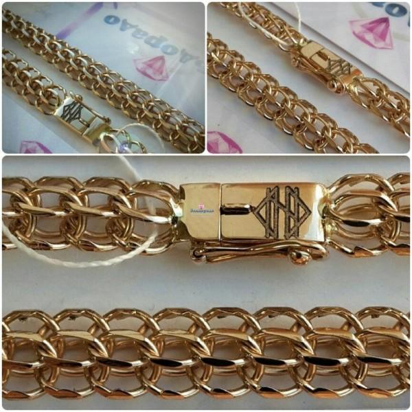 Золотая цепь ручного плетения Фараон